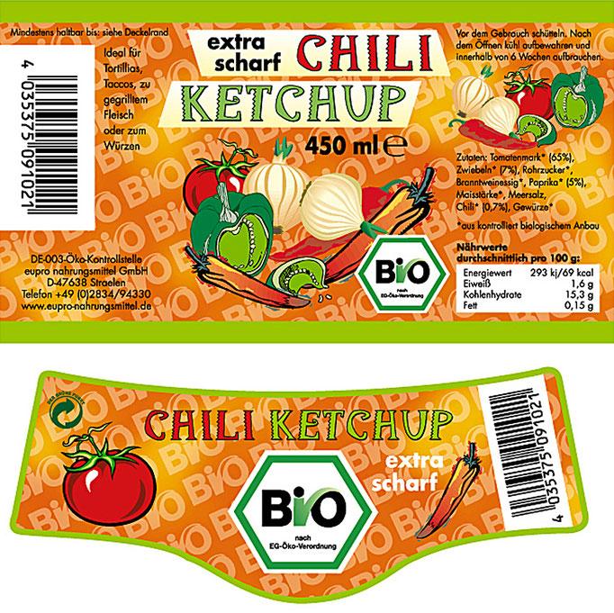 Etikett des Bio Ketchup mit Chili