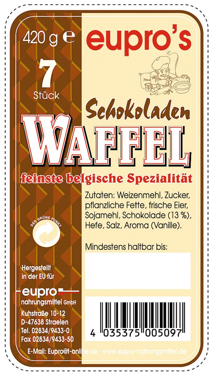 Verpackung für 7 feine belgische Schokoladenwaffeln