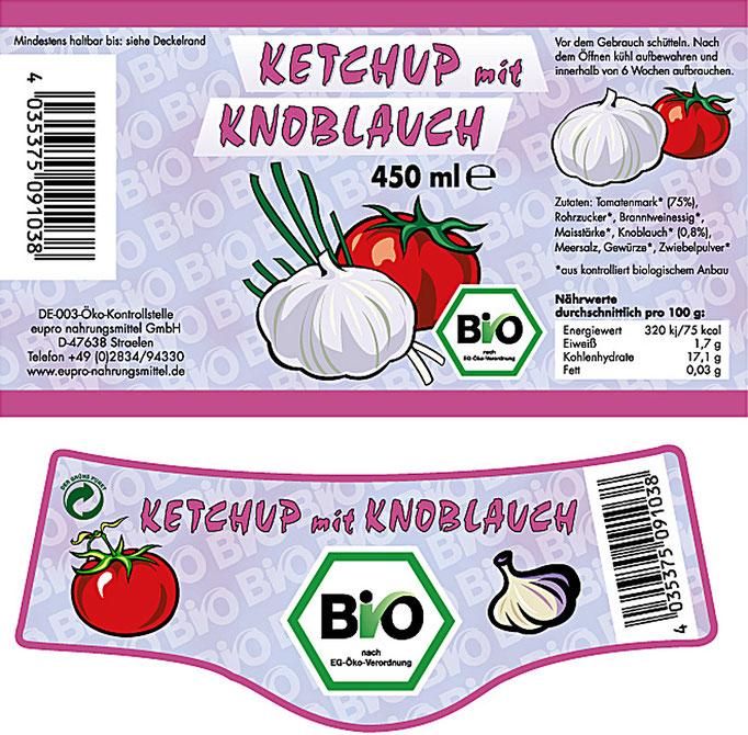 Etikett des Bio Ketchup mit Knoblauch