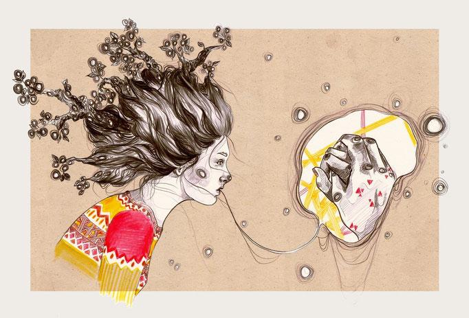 """Illustration """"Hold tight"""". Bleistift und Buntstift auf Papier; Nachbearbeitung mit Photoshop. Hamburg 2014"""