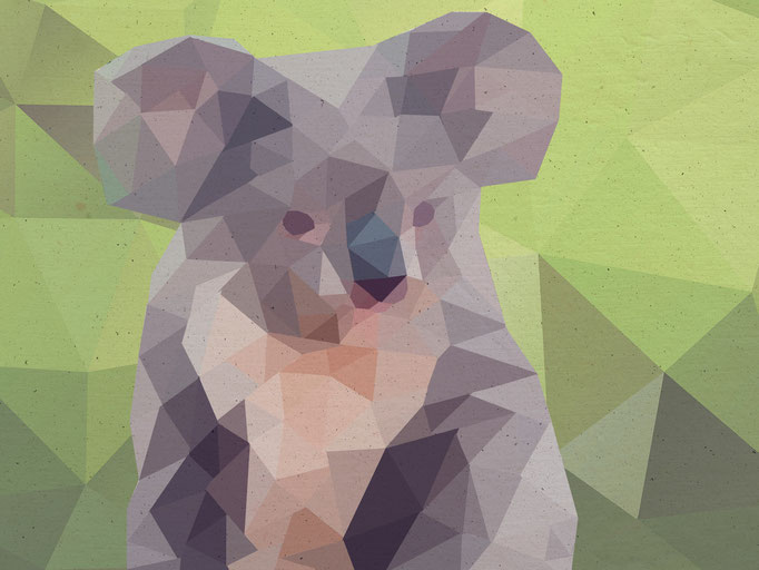 Koala, Lowpoly - Illustration, (c) Felice Vagabonde, Illustratorin aus Hamburg