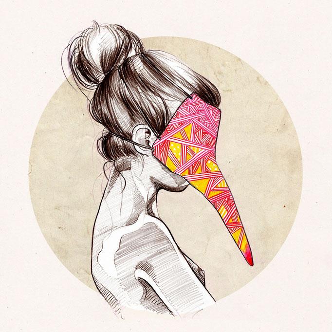 Bird Girl, Digitale Illustration, (c) Felice Vagabonde, Illustratorin aus Hamburg