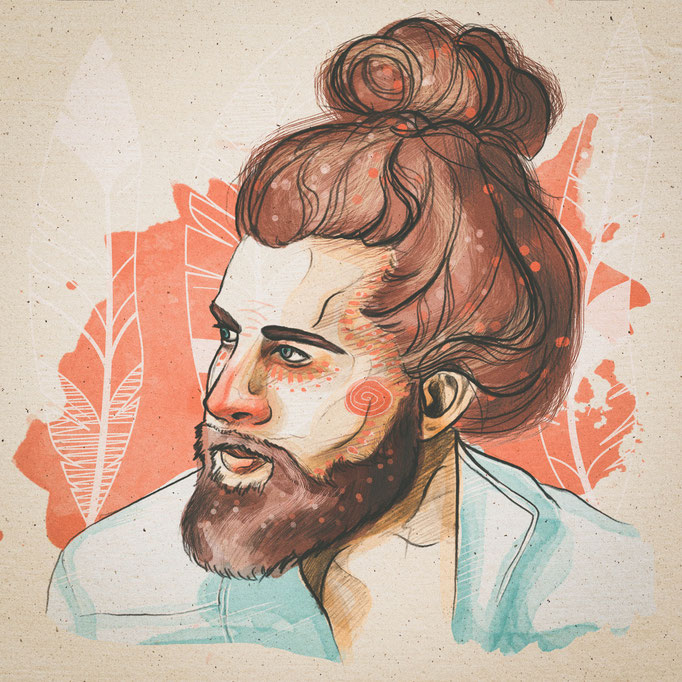 Man-bun, Traditionelle & Digitale Illustration, (c) Felice Vagabonde, Hamburg