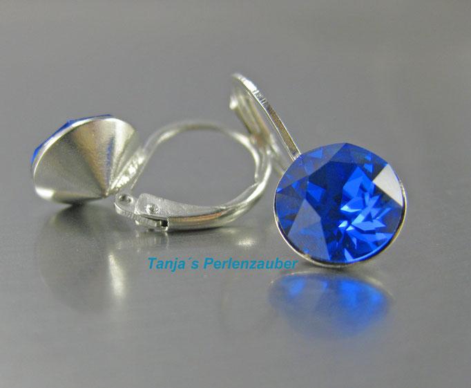 Tanjas Perlenzauber Chaton Ohrringe sapphire blau