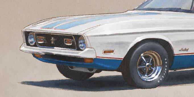 La voiture est dessinée en respectant les éléments installés à l'époque