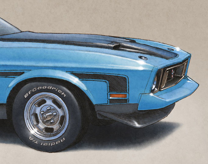Additions on this drawing include aluminum rims, BF Goodrich Radial G/T lettering on tires and removal of chrome strips around the wheel openings