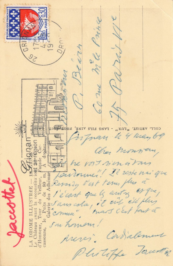 Carte postale autographe signée Philippe Jaccottet