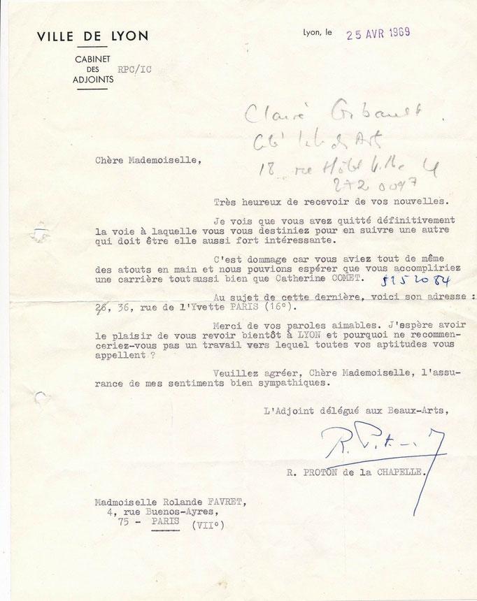 Robert Proton de la Chapelle correspondance autographe