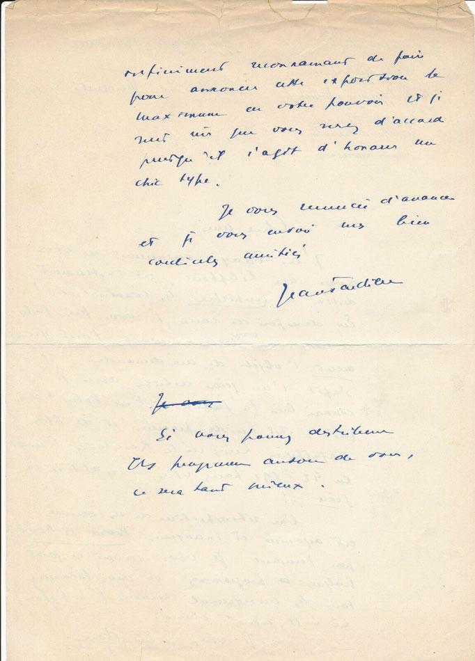 Jean Tardieu, lettre autographe signée
