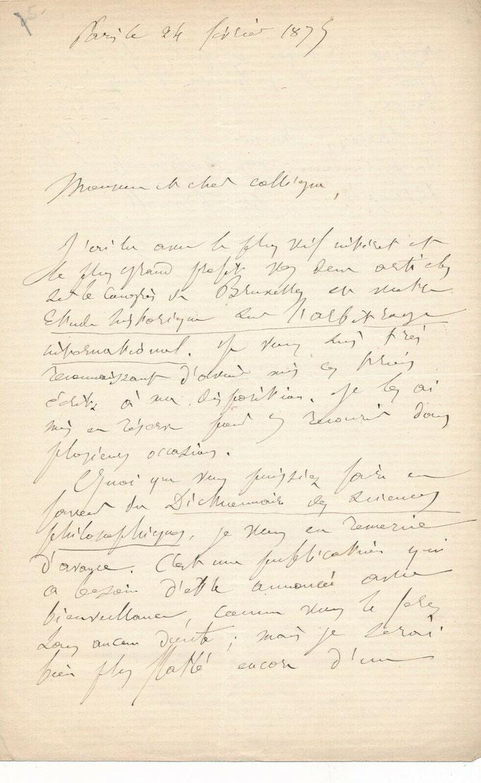 Adolphe Franck, lettre autographe signée