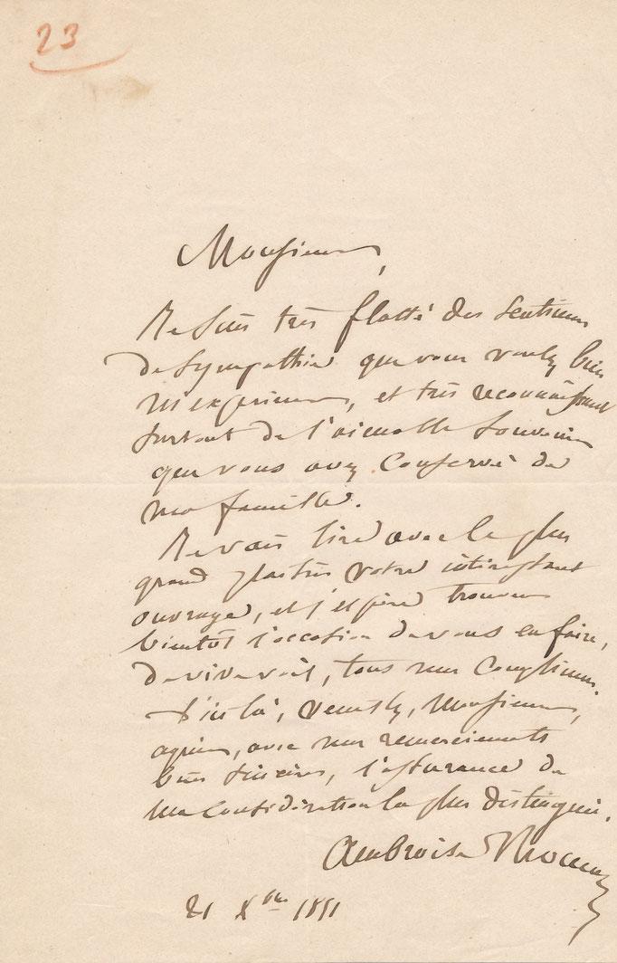 Ambroise Thomas : lettre autographe signée
