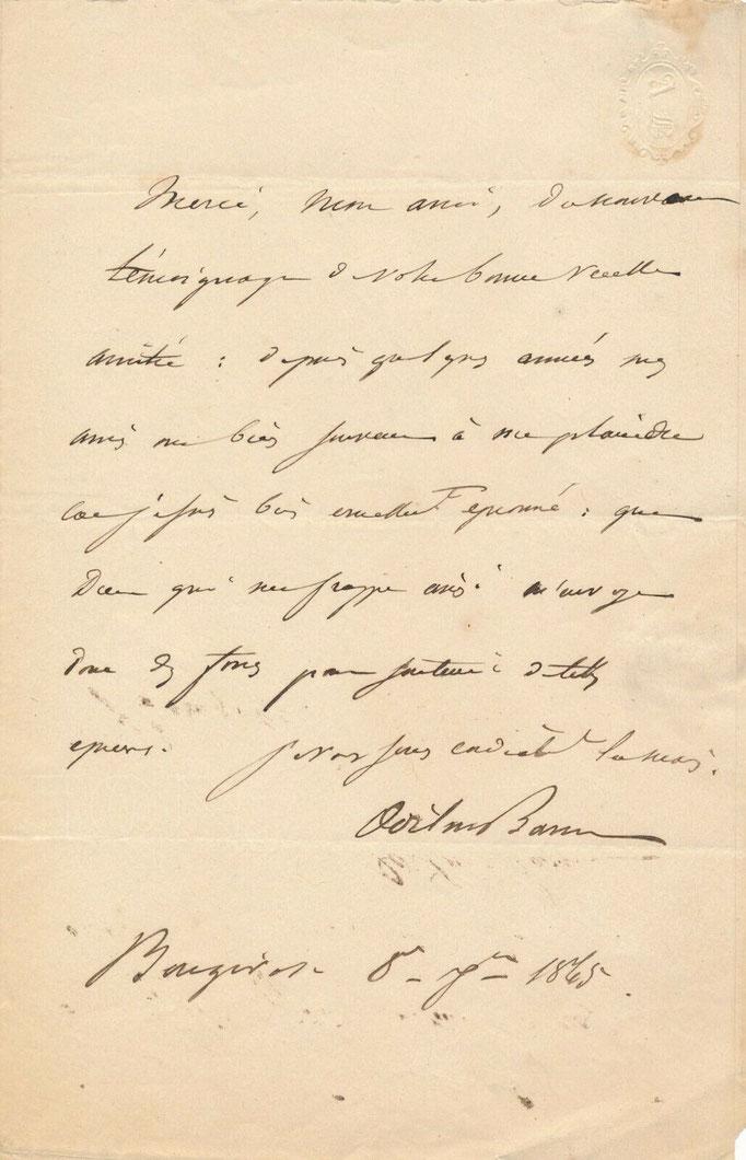 Odilon Barrot, lettre autographe signée