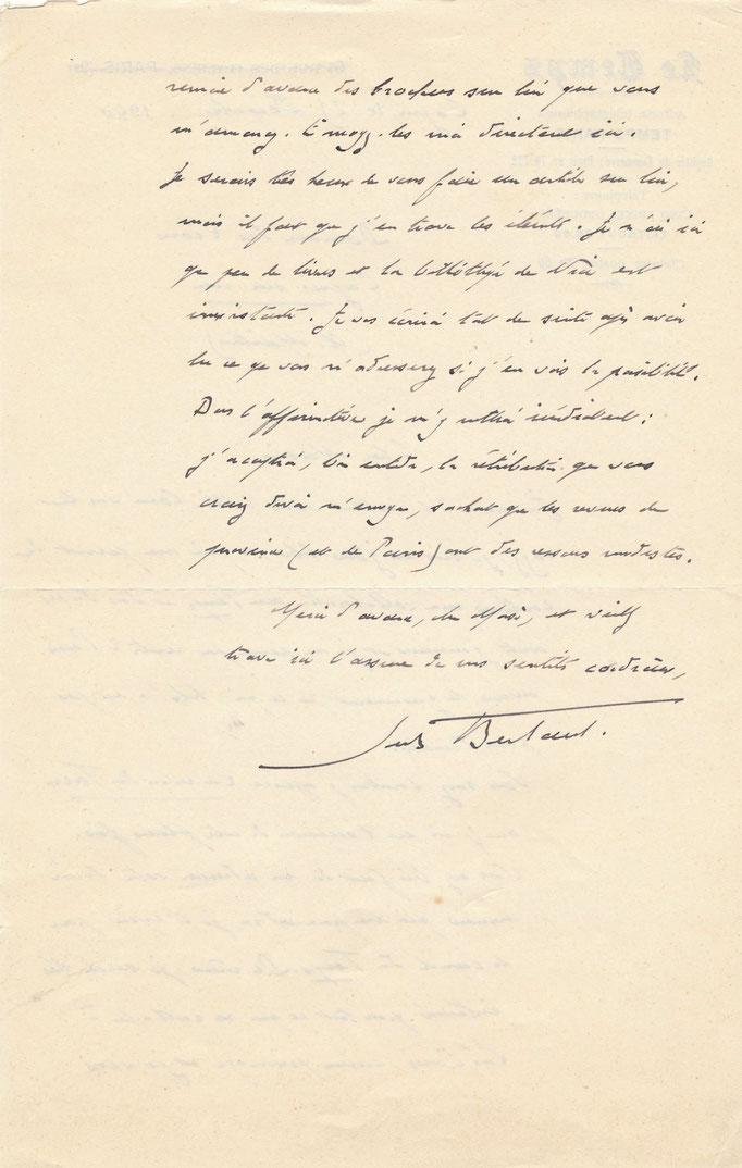 Jules Bertaut lettre autographe signée correspondance