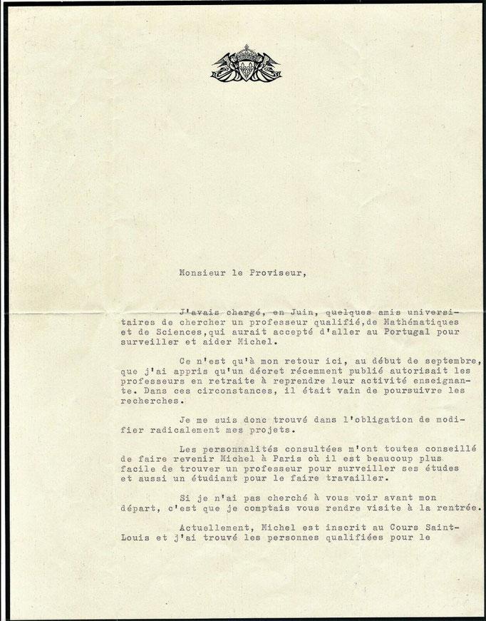 Lettre signée d'Henri d'Orléans