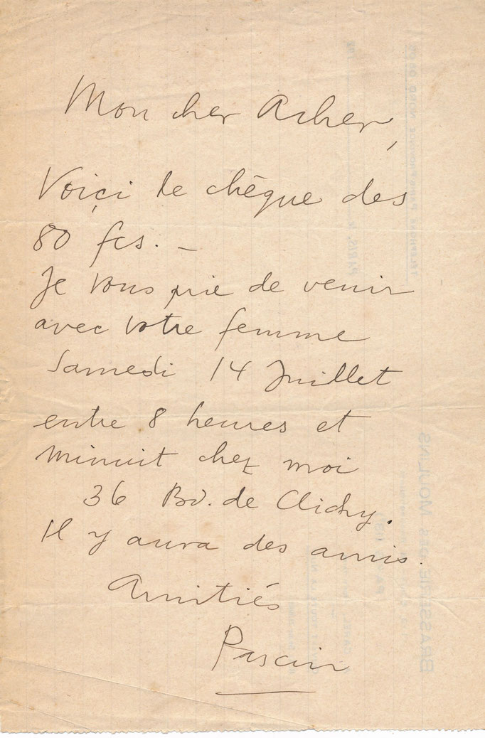 Jules Pascin : lettre autograpje signée