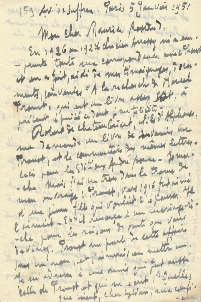 Sylvain Bonmariage, lettre autographe signée