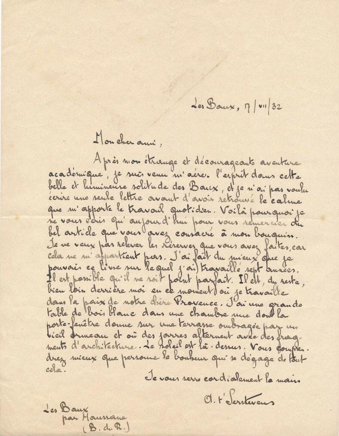 lettre autographe t'Serstevens