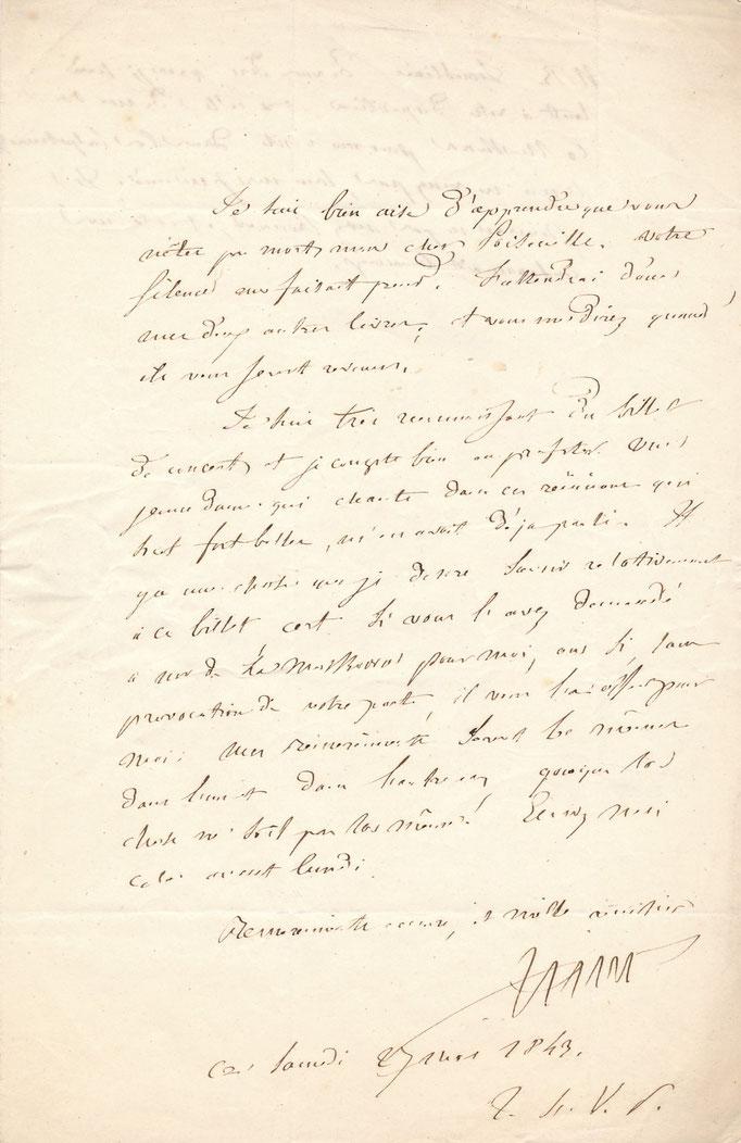 Louis Francisque Lélut médecin philosophe lettre autographe signée