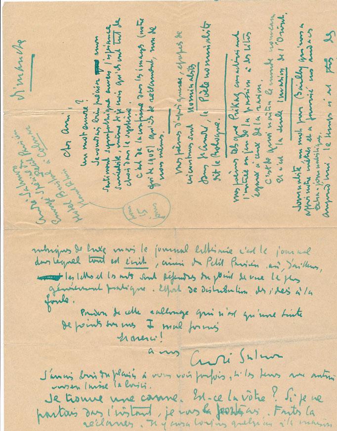 André Salmon (1881-1969) : lettre autographe signée