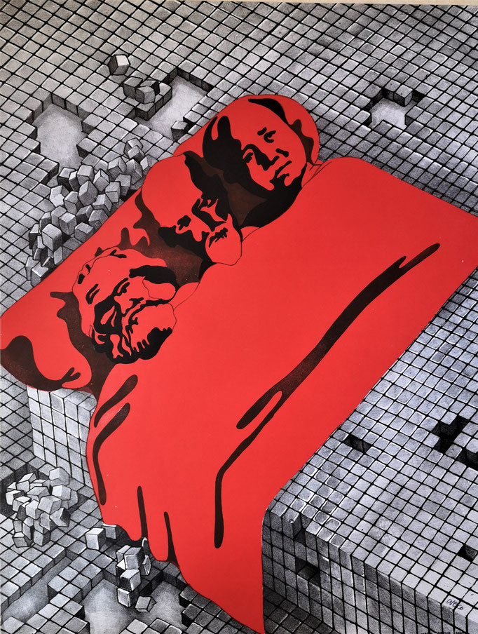 Henri Cueco Marx Freud Mao photolithographie
