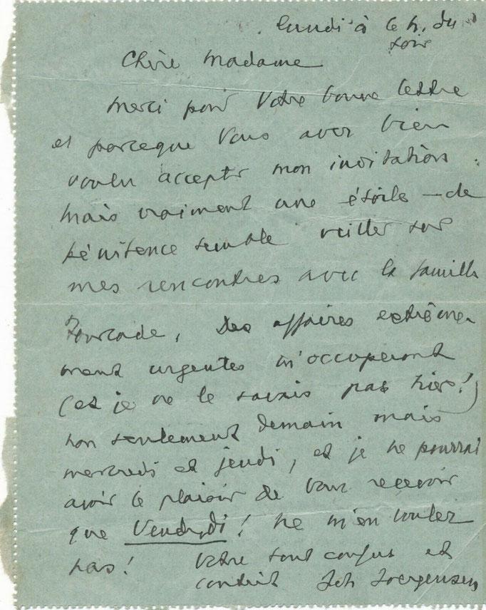 Johannes Joergensen, lettres autographes