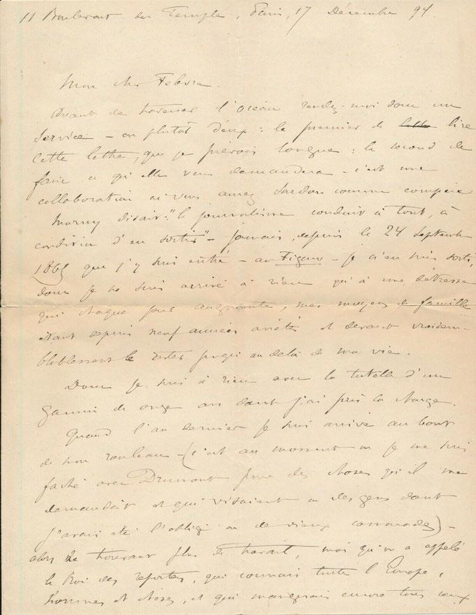 Ivan Woestyne, lettre autographe signée