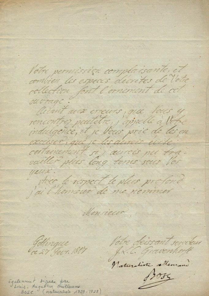 Carl Gravenhorst lettre autographe signée