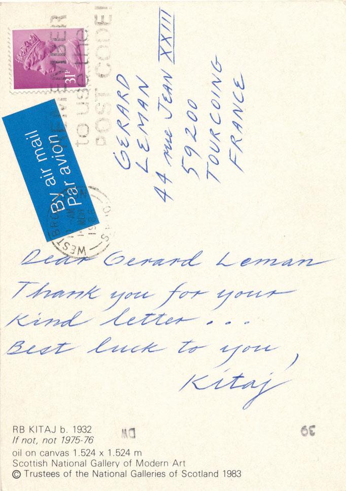 Kitaj, carte autographe signée