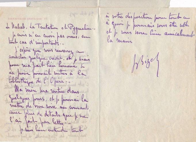 Jacques Bizet lettre autographe signée