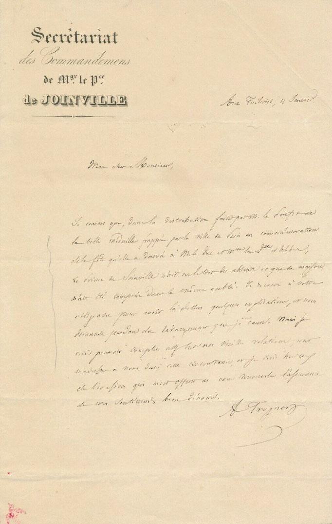 Auguste Trognon, lettre autographe