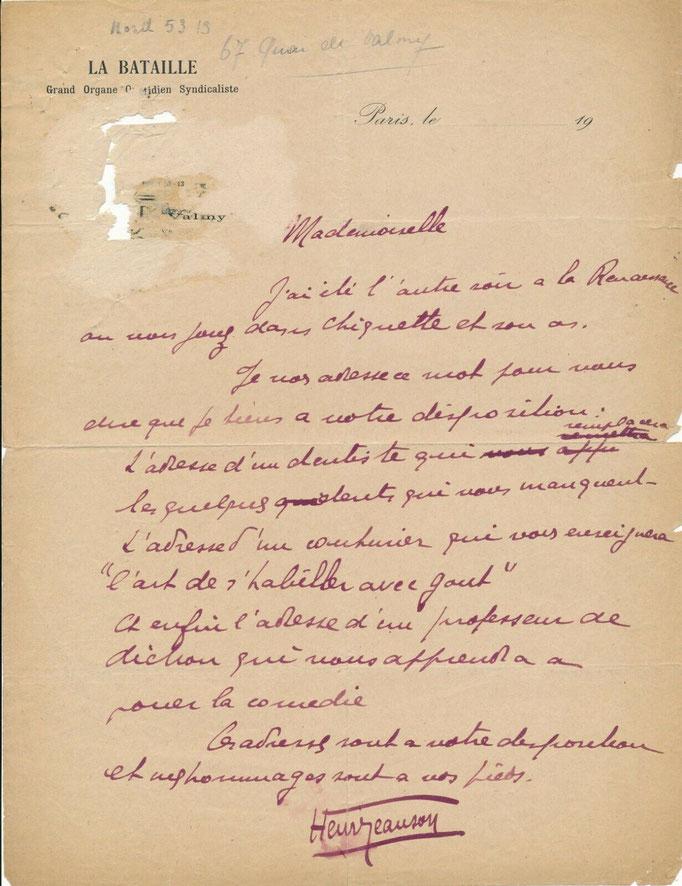 Henri Jeanson, lettre autographe signée