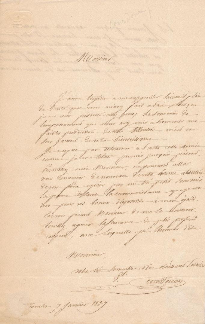 Vincent Courdouan : lettre autographe signée