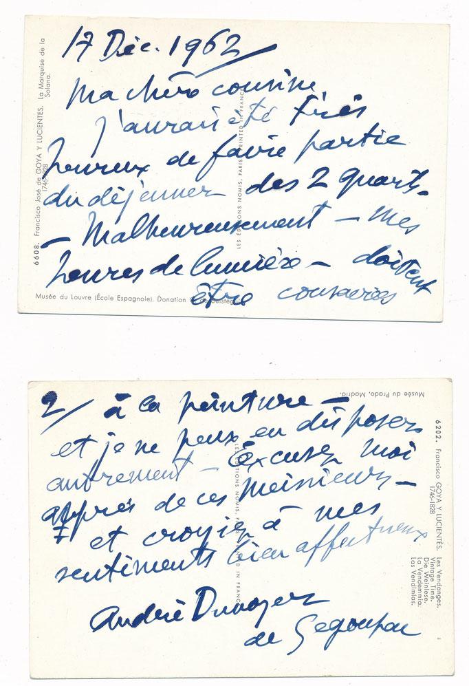 Dunoyer de Segonzac : lettre sous forme de deux cartes autographes