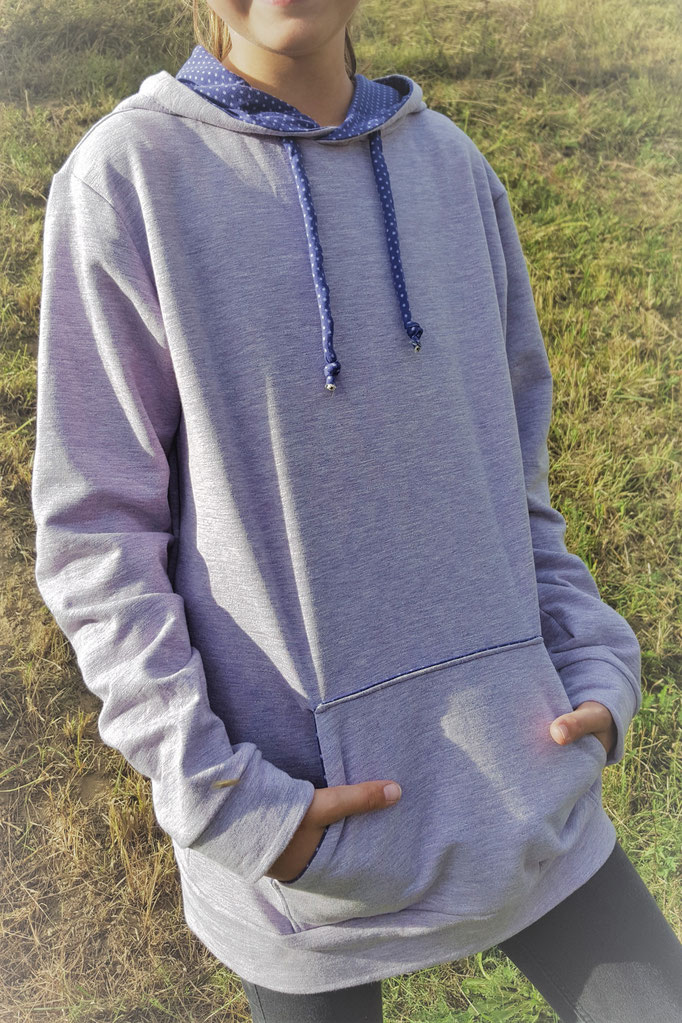 Schnittmuster Kaputzen Pullover mit Kordel Sweatshirt
