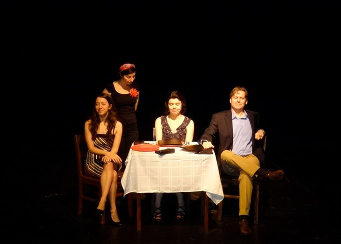 Jessica Vera (Marcia), Elly Berke (waiter), Roxann Kraemer (Cissy Sampson) and Tony Neil (Phil Sampson)