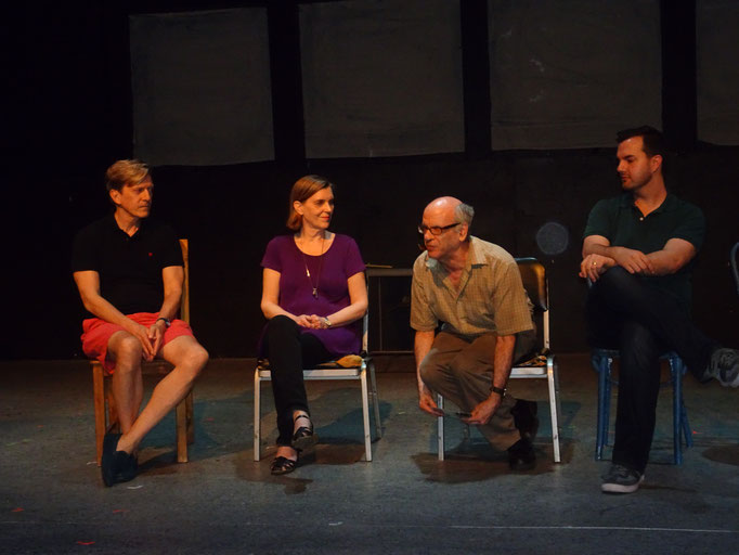 Playwrights talkback (William Ivor Fowkes, Jo Walker, Mark Eisman, playwrights; Mark W. Sasse, director) [Photo by Stephen Michael Smith]