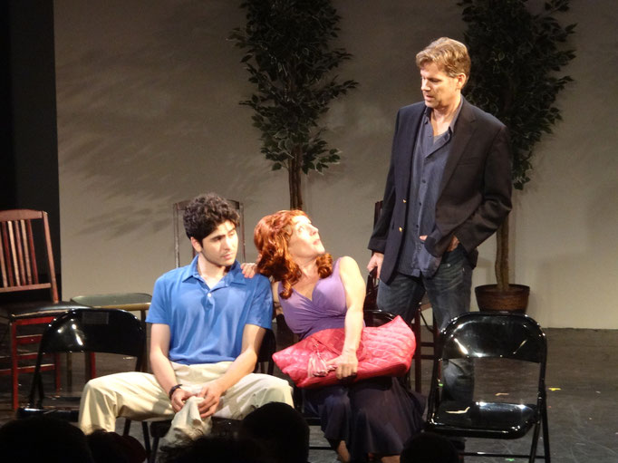 Tony Neil interrupts James Meneses and Camille Mazurek in a scene from SUNSHINE QUEST by William Fowkes.