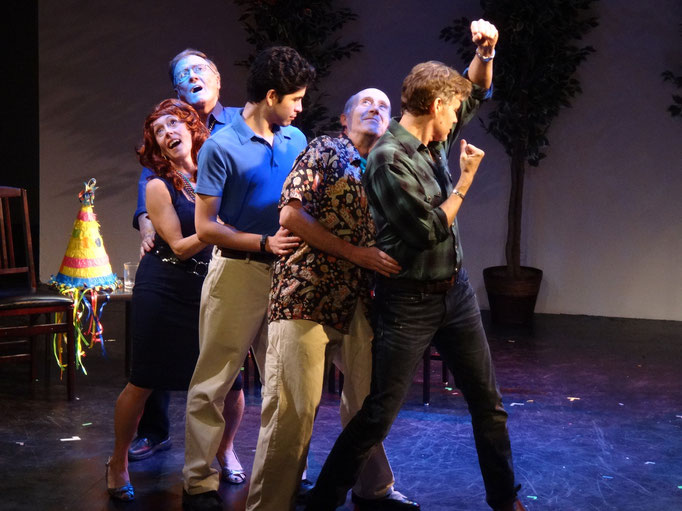 The cast of SUNSHINE QUEST (Tony Neil, James Meneses, Steve Shoup, Camille Mazurek, George Boras) enjoy a conga at the Sunshine Quest Club.