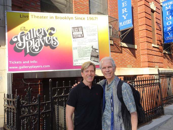 William Ivor Fowkes (playwright) and Kim T. Sharp (director) at Gallery Players, Brooklyn [Photo by Stephen Michael Smith]
