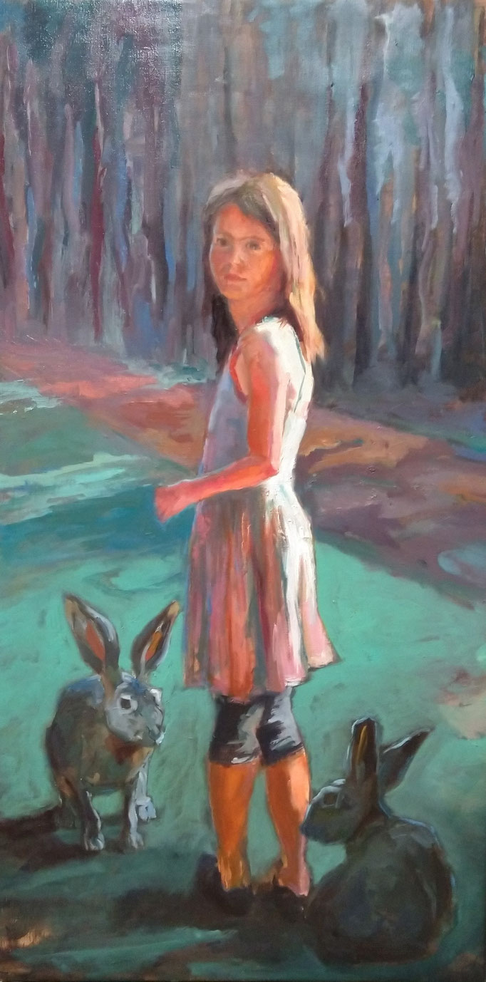 in the woods - Oil on Linen 115 x 60 cm