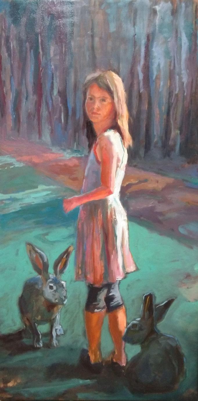 in the woods - Oil on Linen 115 x 60 cm
