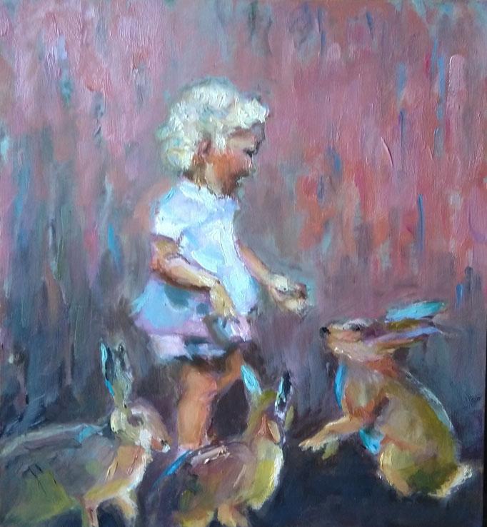 Little Girl - Oil on panel (4cm) 21cm x 19cm