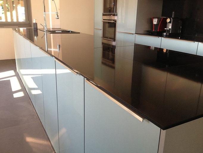 Acryl Glas Küche, Acryl Küche, Glas Blau Küche, Blaue Küche