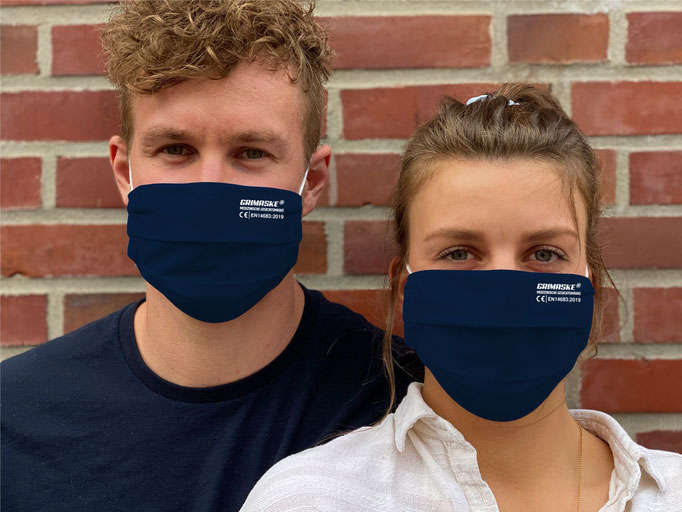 """Farbe (25) dunkelblau / """"GRIMASKE"""" antivirale Atemschutzmaske - https://www.krawatten-tuecher-schals-werbetextilien.de/"""