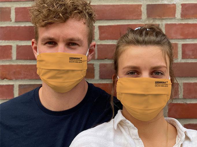 """Farbe (3) goldenes-orange / """"GRIMASKE"""" antivirale Atemschutzmaske - https://www.krawatten-tuecher-schals-werbetextilien.de/"""