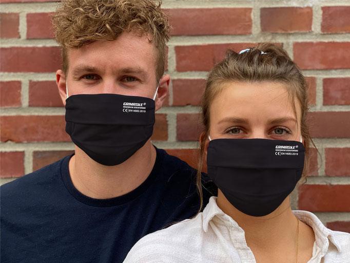 """Farbe (27) schwarz / """"GRIMASKE"""" antivirale Atemschutzmaske - https://www.krawatten-tuecher-schals-werbetextilien.de/"""