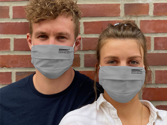 """Farbe (26) grau / """"GRIMASKE"""" antivirale Atemschutzmaske - https://www.krawatten-tuecher-schals-werbetextilien.de/"""