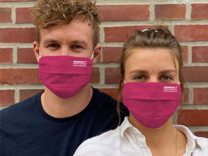 """Farbe (5) himbeere / """"GRIMASKE"""" antivirale Atemschutzmaske - https://www.krawatten-tuecher-schals-werbetextilien.de/"""