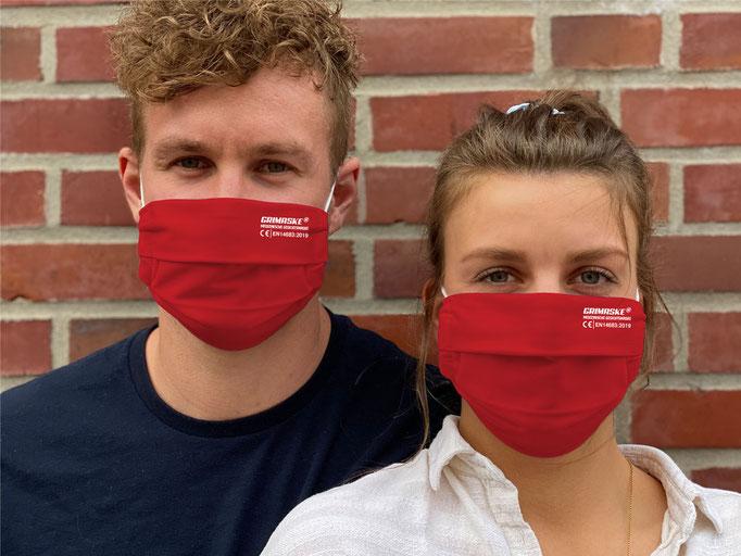 """Farbe (17) Flame-scarlet / """"GRIMASKE"""" antivirale Atemschutzmaske - https://www.krawatten-tuecher-schals-werbetextilien.de/"""