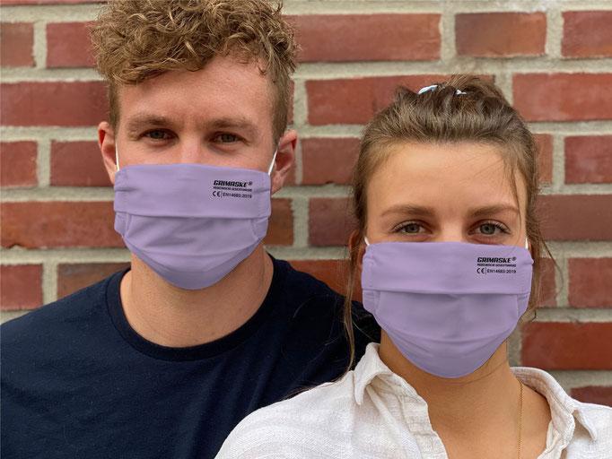 "Farbe (9) lila / ""GRIMASKE"" antivirale Atemschutzmaske - https://www.krawatten-tuecher-schals-werbetextilien.de/"